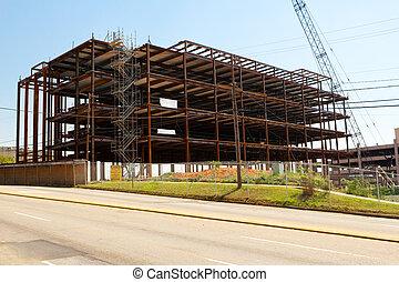 鋼, 框架, 建造建筑物, 站點, 在, a, 城市