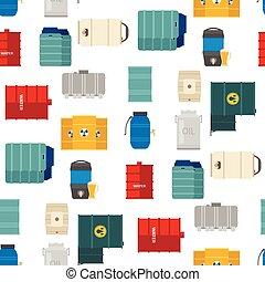 鋼, 桶, 油, 容器, 鼓, 儲存, 容量, 金屬, seamless, 罐, 背景, 燃料, 行, 矢量, 插圖, 坦克, 圖案, bowels, 自然, 船