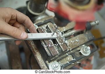 鋼, 盤子, 特寫鏡頭, 電, drill., 手冊, 長凳, 機器, 壓力, 操練, 人