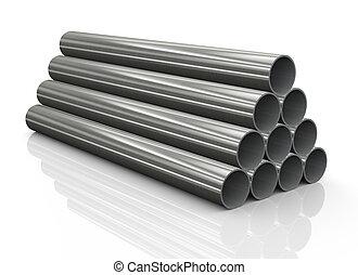 鋼, 管子, 堆, 3d
