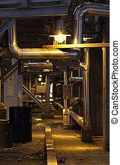 鋼, 走廊, 植物, 照明, 燈, 管子, 結构