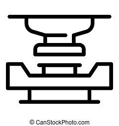 鋼, 車床, 圖象, 風格, outline
