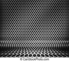 鋼, 金屬, 六角形, 背景, 柵格