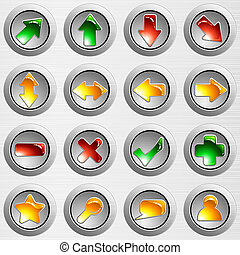 鋼, 集合, 光, 灰色, 按鈕, 拉過絨