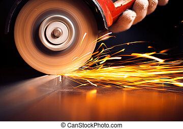 鋼, 電火花, 材料, 碾, 熱紅