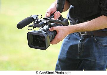 錄象攝影机, 人, 由于, 照像機