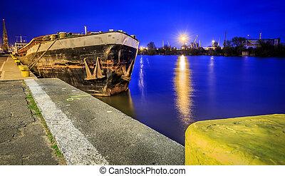 錆ついた, 古い, てんま船, 夜