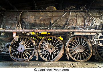 錆ついた, 古い, 蒸気, 機関車