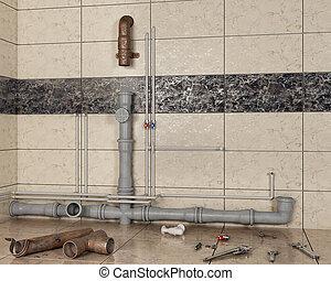 錆ついた, 変化する, 新しい, 3d, イラスト, 古い, 内部, 浴室, パイプ