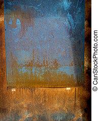 錆ついた, metal., 古い, 手ざわり, 背景