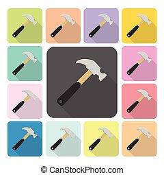 錘子像, 顏色, 集合, 矢量, 插圖