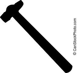錘子, 黑色半面畫像, 被隔离, 在懷特上, 背景, 矢量, 插圖