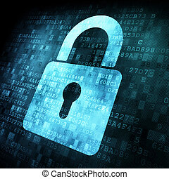 錠, スクリーン, セキュリティー, concept:, デジタル