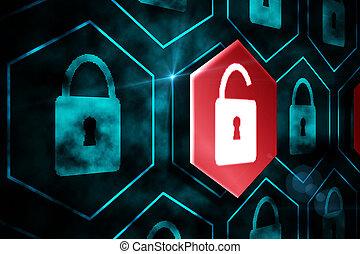 錠, セキュリティー, デジタル