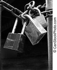 錠, セキュリティー, 鎖