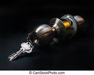 錠, 入口, 黒, キー, 新しい