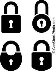 錠, 古い, ベクトル, ドア, アイコン