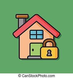 錠, 家, 安全, アイコン