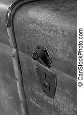 錠, 強くされた, 古い, 写真, 鉄, スーツケース, 袋, 閉鎖, 縦, 道