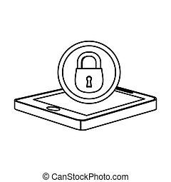 錠, smartphone, 旗, サーバー, アイコン