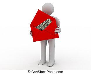 錢, 在, 信封, 在懷特上, 背景。, 被隔离, 3d, 圖像