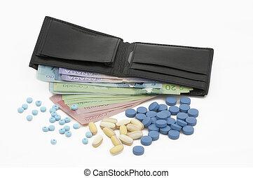 錢, 在, a, 皮夾子, 由于, pills.