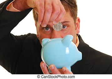 錢, 在, the, 銀行