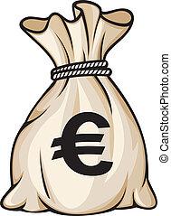 錢, 簽署, 袋子, 歐元