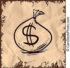 錢, 美元, 袋子, 簽署