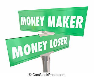 錢, 製作商, vs, 失敗者, 投資, 簽署, 建議, 3d, render, 插圖