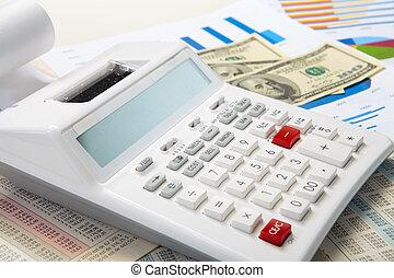 錢, 計算器, 圖表, 背景, 事務