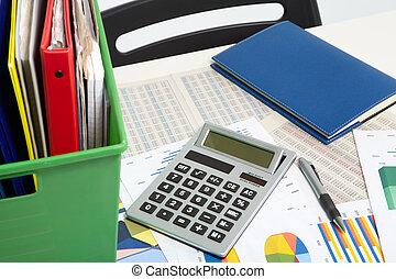 錢, 計算器, 文件, 背景, 事務