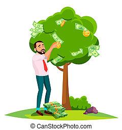 錢, 離開, 樹, 被隔离, 插圖, 商人, vector., 鎬, instead
