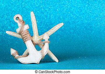 錨, 以及, starfish, 在, an, 天藍色, 閃耀, 背景