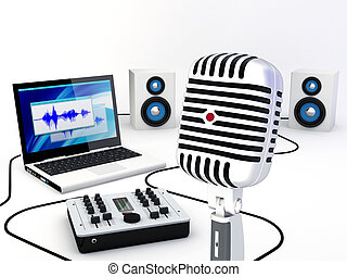録音, 家, スタジオ, 装置