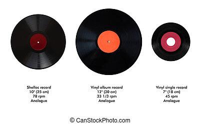 録音, 比較, 大きさ, 媒体