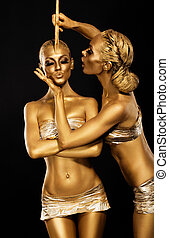 鍍金, 藝術, fantasy., 金, bodies., 婦女` s, creativity., 晴朗