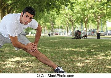 鍛煉, 伸展, 公園, 年輕人