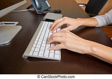 鍵盤, 婦女, 電腦, 鍵入