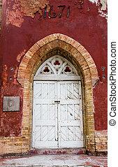 鎖門, 上, 老, 城堡, 門