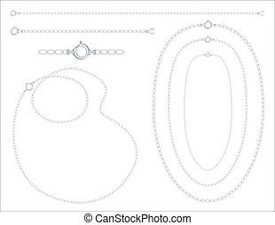 鎖, ブレスレット, 銀, ネックレス