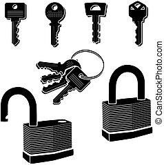 鎖, 以及, 鑰匙, 矢量