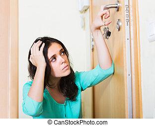 鎖, 婦女, 嘗試, 門