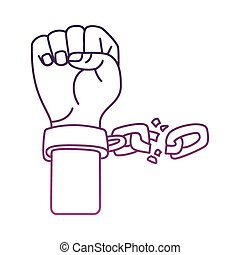 鎖, 手, アイコン, スタイル, 線, 壊される, 奴隷