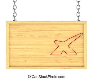 鎖, 木製である, 看板, 隔離された, イラスト, 3D
