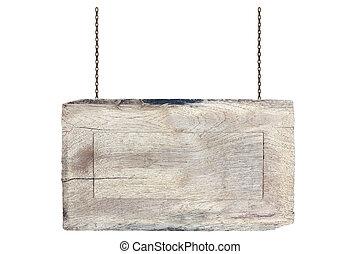 鎖, 木製である, 隔離された, 印, 背景, 掛かること, 白