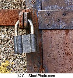鎖, 老, 門, 金屬, 關閉