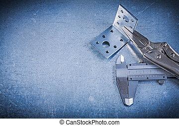 鎖, 頜, 鉗子, vernier, 卡尺, 角度, 托架, 上, 金屬, backgr
