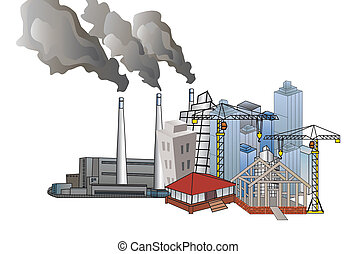 鎮, 以及, 工業的發展