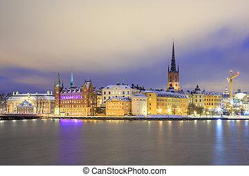鎮, 城市, 老, 瑞典, 斯德哥爾摩, 夜晚